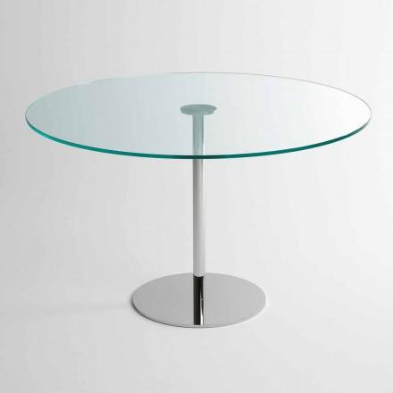 Rundt matbord med Extralight Glass Topp tillverkad i Italien - Dolce