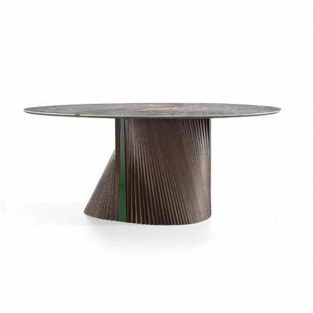 Lyxigt runt matbord i polerat stengods och trä tillverkat i Italien - Madame
