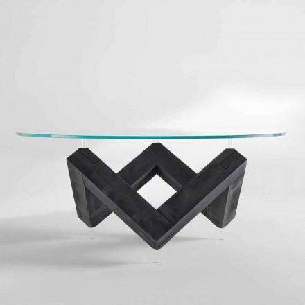 Runda matbord i trä med glasskiva Bao