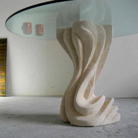 Runda matbord i sten med glasskiva Cadmus