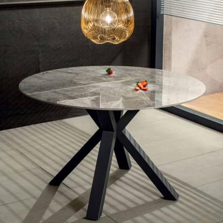 Modernt rund matbord i keramisk marmoreffekt och metall - Jarvis