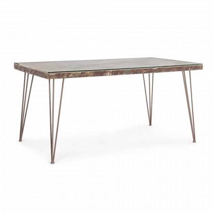 Matbord i industriell stil med topp i Mdf och Glass Homemotion - Brasil