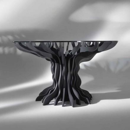 Cassia runda matbord, piano svart trä och glasskiva