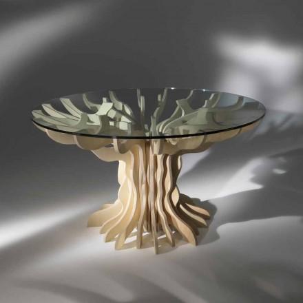 Round middag träbord med härdat glasskiva Dalia