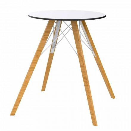 Runt matbord i trä och Hpl-topp, 4 stycken - Faz Wood av Vondom
