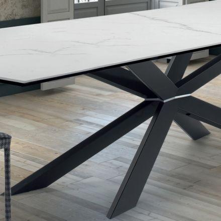 Köksbord för design i marmor och svart stål tillverkat i Italien - Grotta