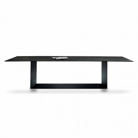Designbord i Matt Noir Desir Keramik och metall tillverkad i Italien - mörkbrun