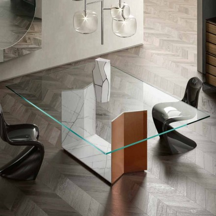Metall- och marmorbord med lyxig glasskiva tillverkad i Italien - Minera