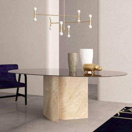 Elliptiskt bord i Crystal och Beige Coral Marble tillverkat i Italien - Noccia