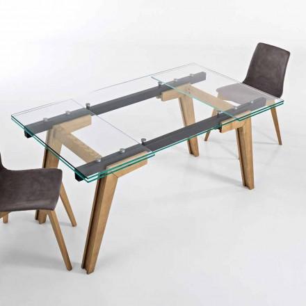 Extendable bord i glas och massivt trä gjord i Italien, Dimitri