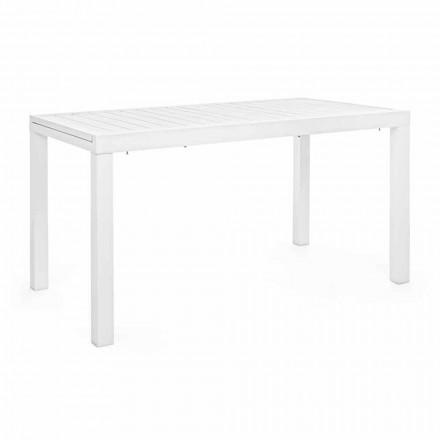 Utdragbart trädgårdsbord Upp till 240 cm i vitt eller turtledove-aluminium - Franz