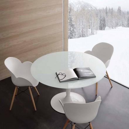 Round fasta bordet extrawhite härdat glas och stål Aurora