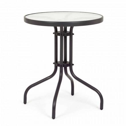 Trädgårdsbord av rund stål med designglastopp - Purizia