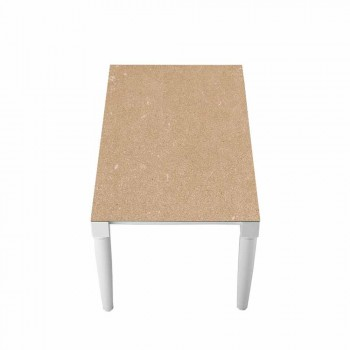 6-sits keramiskt bord och vita träben - Claudiano