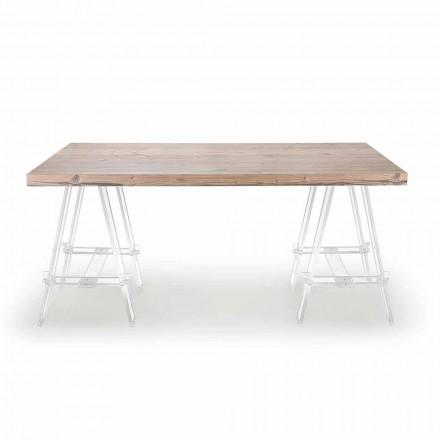 Träbord med bockar i plexiglas Tillverkad i Italien - Staffli