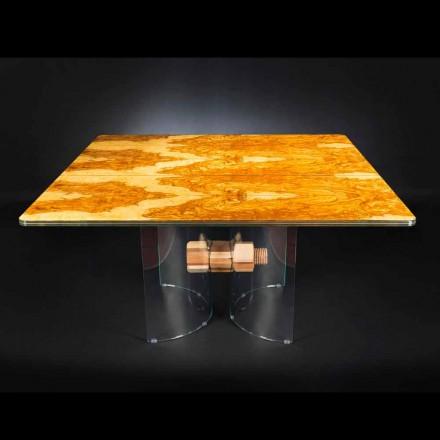 i oliv trä bord och glas Portofino kvadratisk form