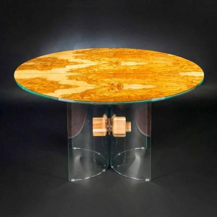 oliv trä bord och Portofino runda glas