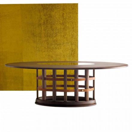 Grilli Harris modernt elliptiskt massivt träbord tillverkat i Italien