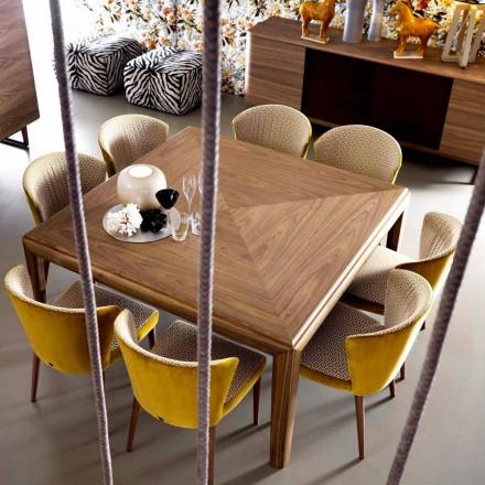 Grilli York Square Modernt massivt träbord tillverkat i Italien