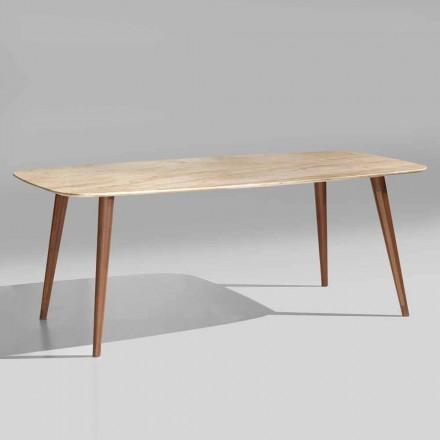 Modernt bord av hög kvalitet i marmor och valnötsträ tillverkat i Italien - Hercules