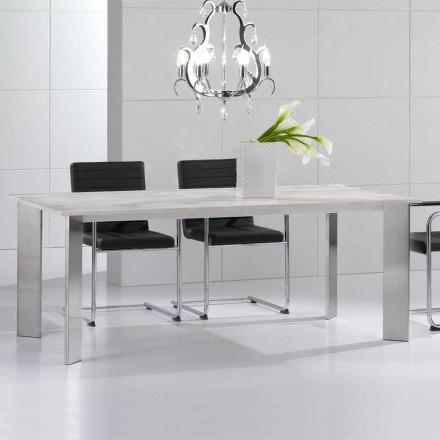 Travertinsten bord med benen i polerad stål Pompilio