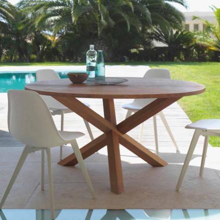 Runt trädgårdsbord i mahognyträbro från Talenti