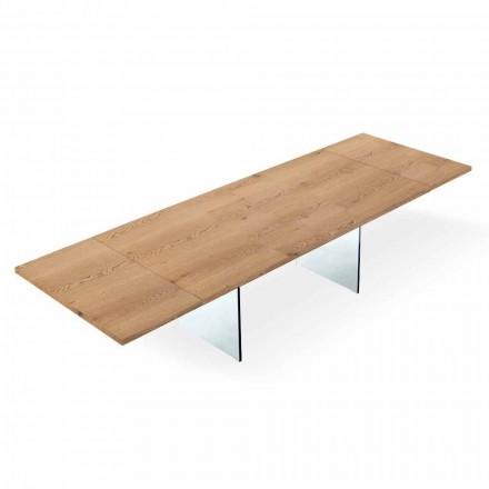Utdragbart modernt bord upp till 300 cm i laminerat och glas tillverkat i Italien - Strappo