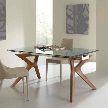 Modern tabell Utdragbar rostfritt stål och härdat glas Kentucky