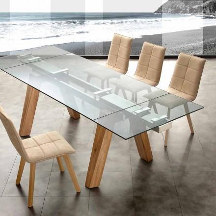 modern matbord i glas och trä Florida