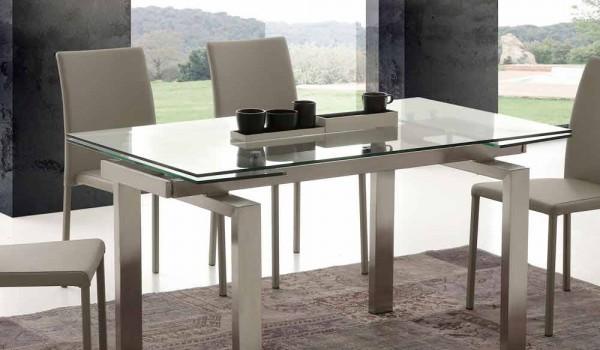 modern matbord i härdat glas och rostfritt Georgia