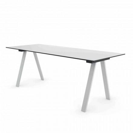 Modernt utomhusdesignbord i metall och HPL tillverkat i Italien - Denzil