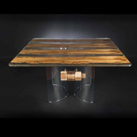Modern i venetiansk glas och trä bord Briccola