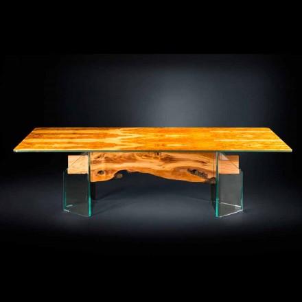 Moderna oliv trä bord, rektangulära glas Portofino