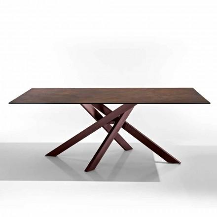 Modernt bord i glaskeramikhäll och metall gjord i Italien, Dionigi