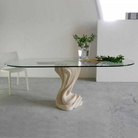 oval sten bord med glasskiva modern design Agave