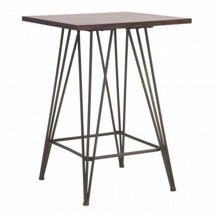 Industriellt bord med hög fyrkant i järn och trä - Helle