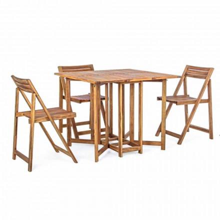 Fyrkantigt utomhusbord i akaciaträ med 4 fällbara stolar - salvia