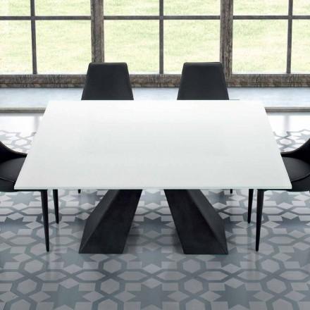 Kvadratbord i härdat extravitt glas och stål tillverkat i Italien - Dalmata