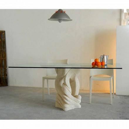 Rektangulärt bord i Vicenza Ascanio sten, huggen i mao
