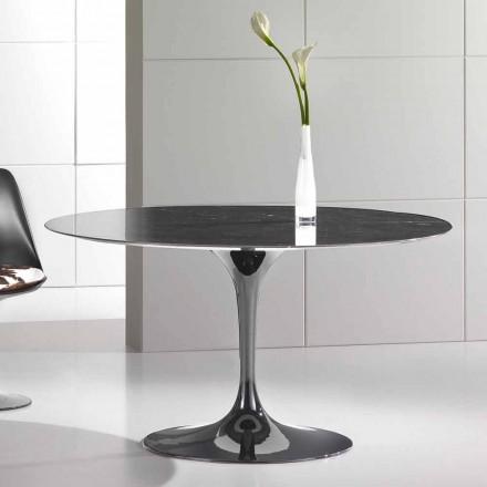 Rundt matbord i Marquinia marmor av hög kvalitet tillverkad i Italien - Nerone