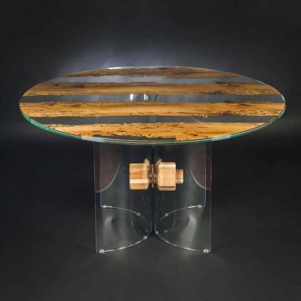 Rund design tabell över venetianska glas och trä delfin