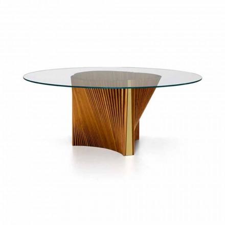 Lyxigt rundbord i glas och oljad ask tillverkad i Italien - Madame