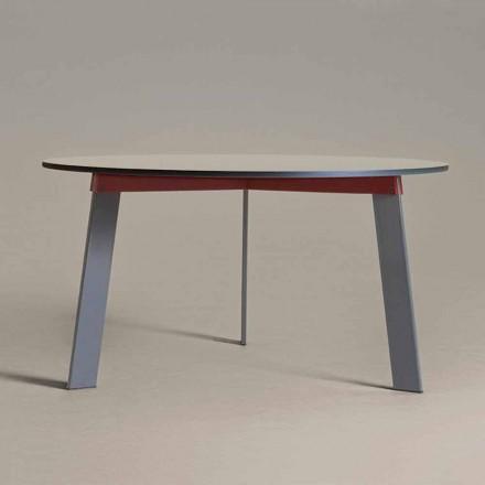 Rundbord i modern design i stål och färgad lackerad MDF - Aronte