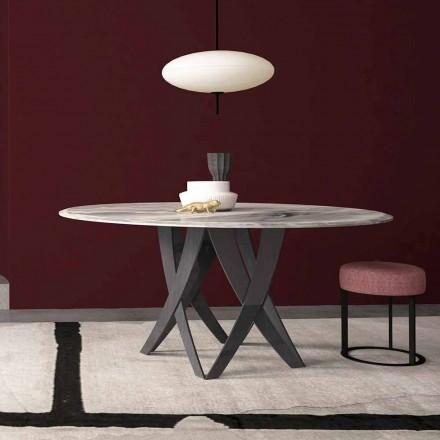Rundt bord i Imperial Grey Marble Diameter 140 cm, tillverkad i Italien - Montereale