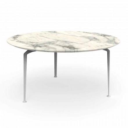 Runt utomhusbord med modern design av stengods och aluminium - Cruise Alu Talenti