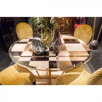 modeno Runt bord med glasskiva och Ozzy träinlägg
