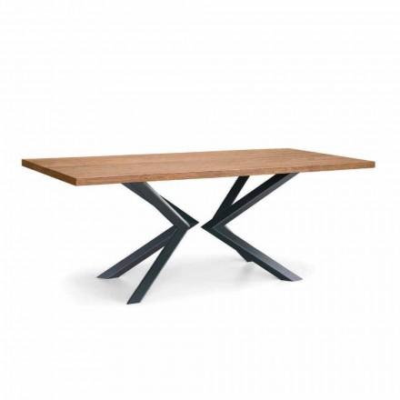 Modernt matbord i knuten ek och metall tillverkad i Italien - Veruka