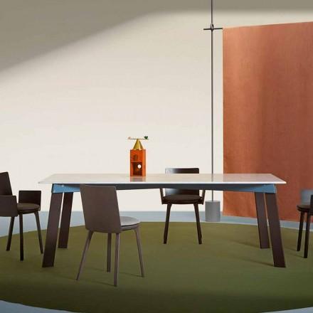 Modernt vardagsrumsbord i stål med designmarmortopp - Aronte