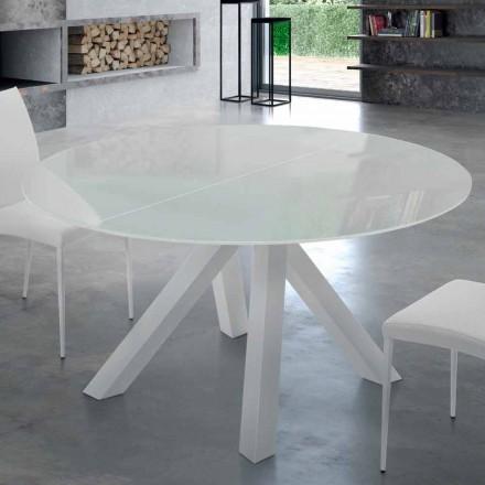 Utdragbart rundbord i härdat glas och stål tillverkat i Italien - Settimmio
