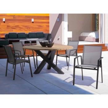 Runt utomhus modernt bord med hemkänsla - Ruben Teak Wood Top